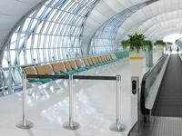 Oro uostų ir kitų stočių tako užtvara atitvėrimo stulpeliais.