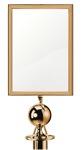 Aukso spalvos reklaminė lentelė.