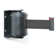 Juodas diržas kasetėje, su susukamu mechanizmu.