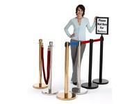 Eilių ir eksponatų atitvėrimo stoveliai su juostomis ir virvėmis, galima dėti reklaminius rėmelius.
