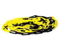 Geltona - juoda barjerų stovų grandinė.