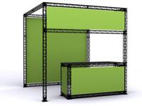 Prekybinis stendas su stalu - puikiai tinka produkcijai ir paslaugoms teikti.