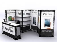 Lankstus mobilus stendas su prekybinėmis lentynomis ir info stalu.