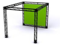 Paprasta ekspozicinio stendo konstrukcija su galine siena.