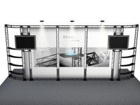 Interaktyvus parodų stendas su lentynomis, grafiniais plakatais ir TV monitoriais.