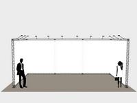 Padidinto aukščio ir pločio mobilūs parodų stendai iš surenkamų konstrukcijų ir įtempiamų plakatų.