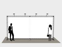 Reklama ant tento ištempta ant konstrukcijos su apšvietimu.