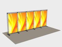 Penkių segmentų stendas gali būti permontuojamas į įvairias konstrukcijas, skaidomas ir prijungiamas.