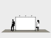 300x200 cm reklaminis tentas ant stendų konstrukcijos su trimis šviestuvais.