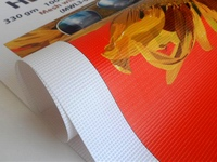 Reklamai naudojamas MESH tentas ilgai išlaiko ryškias spalvas, praleidžia oro srautą.