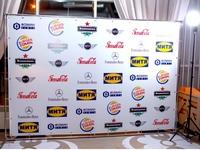 mobili foto sienelė su remėjų logotipais